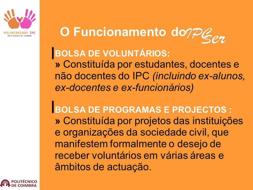 O Funcionamento do BOLSA DE VOLUNTÁRIOS: » Constituída por estudantes, docentes e não docentes do IPC (incluindo ex-alunos, ex-docentes e ex-funcionár