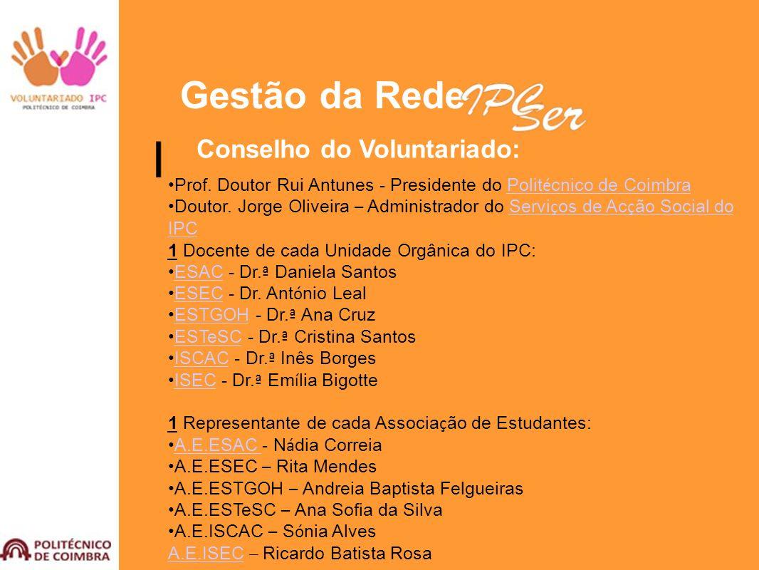 Gestão da Rede Conselho do Voluntariado: Prof. Doutor Rui Antunes - Presidente do Polit é cnico de CoimbraPolit é cnico de Coimbra Doutor. Jorge Olive