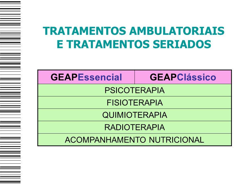 TRATAMENTOS AMBULATORIAIS E TRATAMENTOS SERIADOS GEAPEssencialGEAPClássico PSICOTERAPIA FISIOTERAPIA QUIMIOTERAPIA RADIOTERAPIA ACOMPANHAMENTO NUTRICI