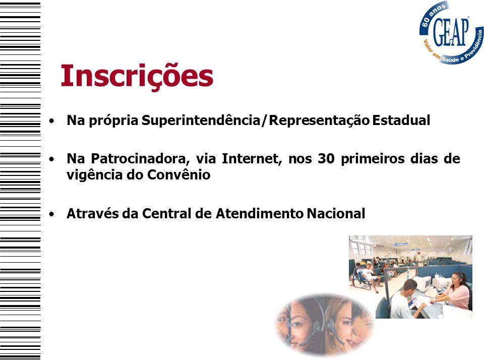 Inscrições Na própria Superintendência/Representação Estadual Na Patrocinadora, via Internet, nos 30 primeiros dias de vigência do Convênio Através da