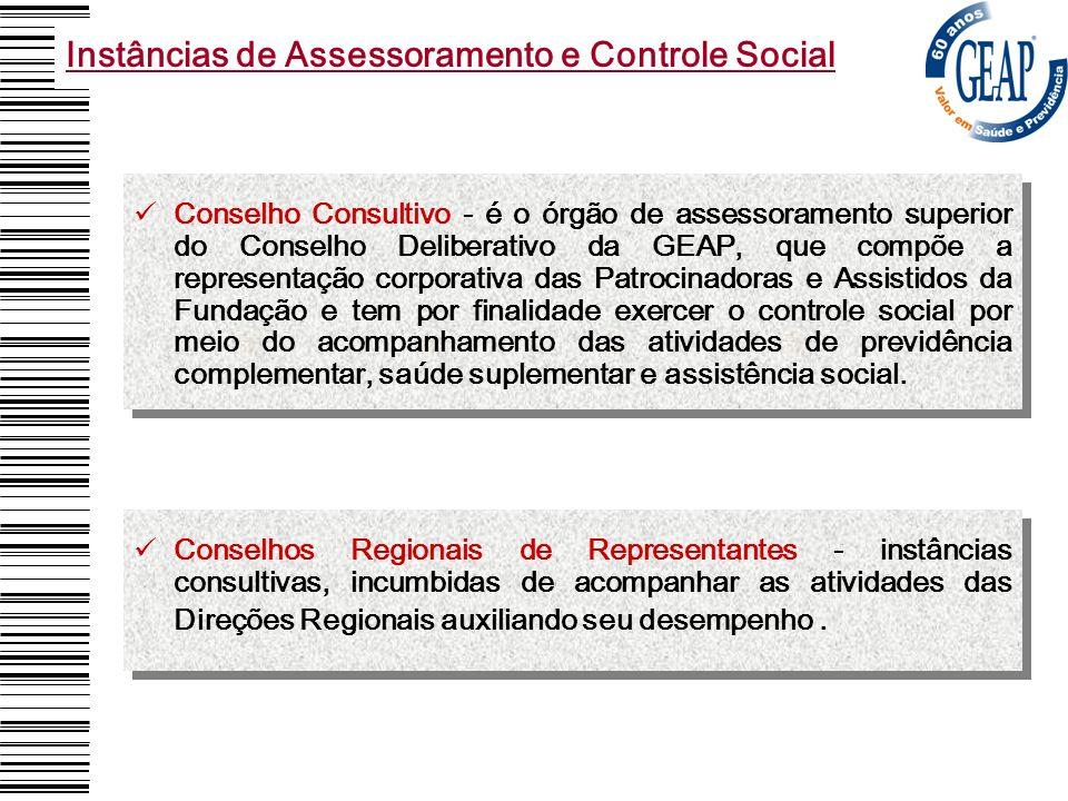Conselho Consultivo - é o órgão de assessoramento superior do Conselho Deliberativo da GEAP, que compõe a representação corporativa das Patrocinadoras