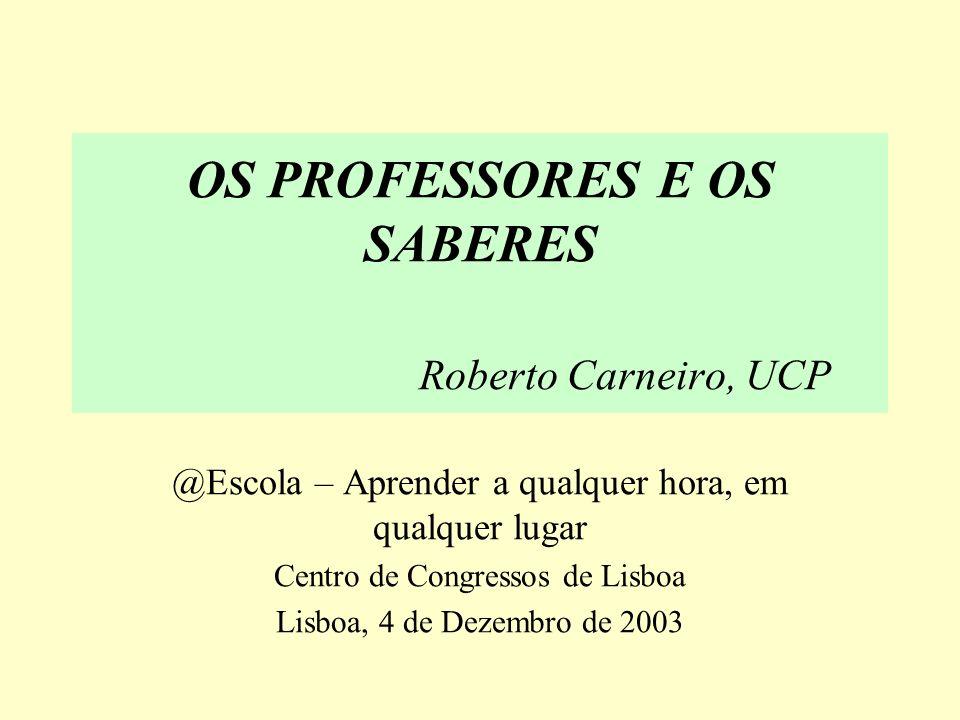 OS PROFESSORES E OS SABERES Roberto Carneiro, UCP @Escola – Aprender a qualquer hora, em qualquer lugar Centro de Congressos de Lisboa Lisboa, 4 de Dezembro de 2003