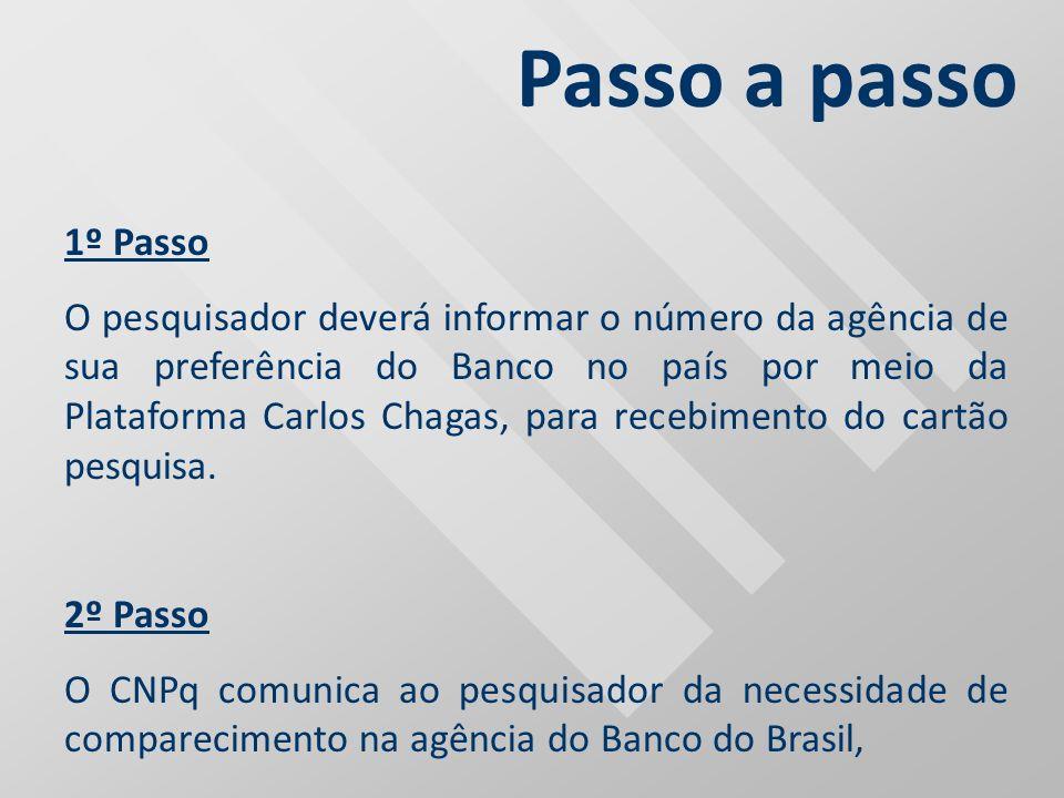 1º Passo O pesquisador deverá informar o número da agência de sua preferência do Banco no país por meio da Plataforma Carlos Chagas, para recebimento