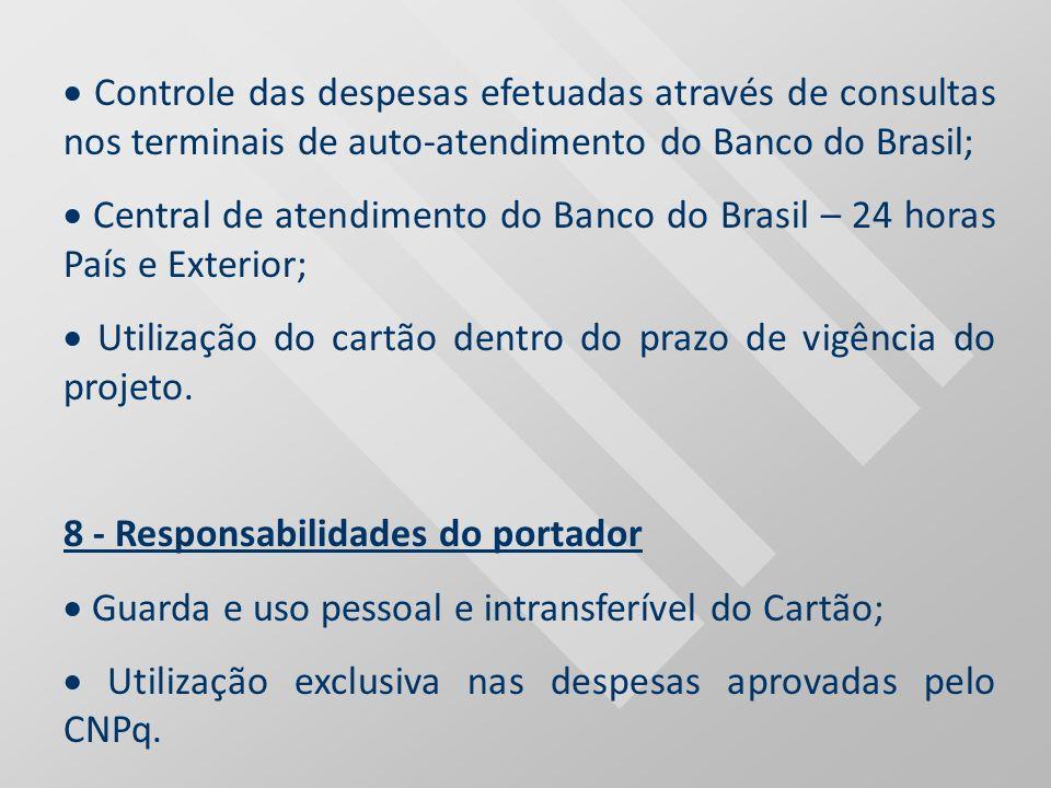 Controle das despesas efetuadas através de consultas nos terminais de auto-atendimento do Banco do Brasil; Central de atendimento do Banco do Brasil –