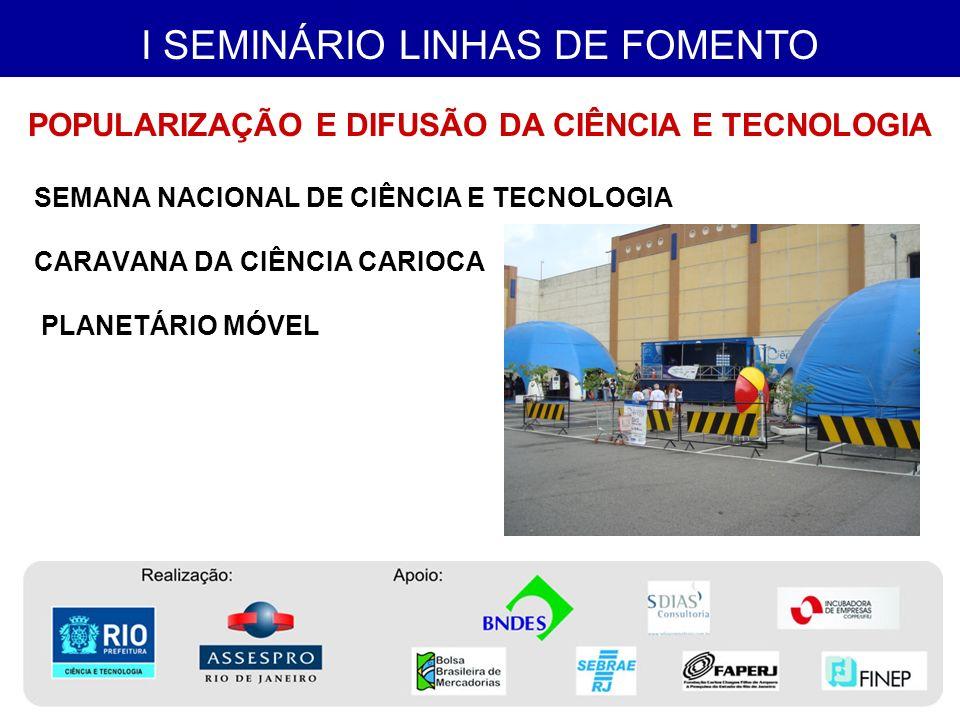 I SEMINÁRIO LINHAS DE FOMENTO o Rio de Janeiro teve poucos projetos aprovados, comparativamente a outros estados com economia menor.