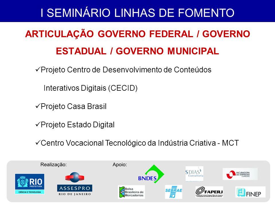 I SEMINÁRIO LINHAS DE FOMENTO PRAÇA DIGITAL CONEXÃO DIGITAL CARIOCA DIGITAL ESPAÇO DIGITAL