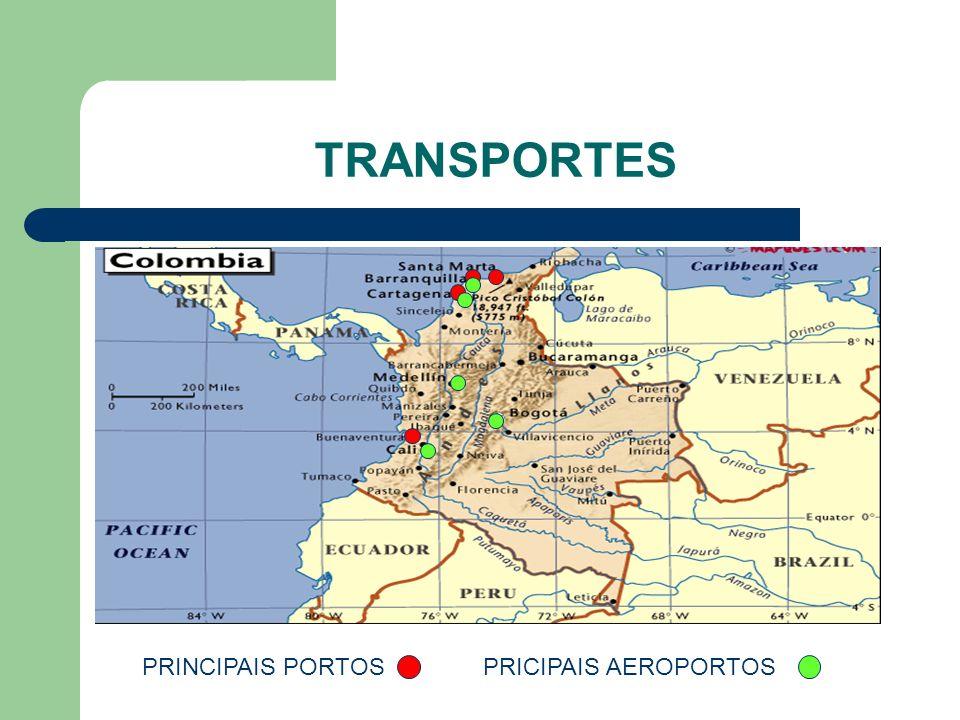 TRANSPORTE TRANSPORTES PRINCIPAIS PORTOS MARÍTIMOS => Buenaventura, Santa Marta, Cartagena e Barranquilla No geral, a oferta de transporte marítimo é