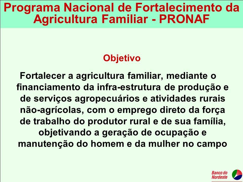 Fortalecer a agricultura familiar, mediante o financiamento da infra-estrutura de produção e de serviços agropecuários e atividades rurais não-agrícol