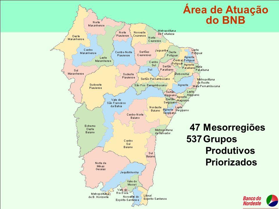 47 Mesorregiões 537Grupos Produtivos Priorizados Área de Atuação do BNB