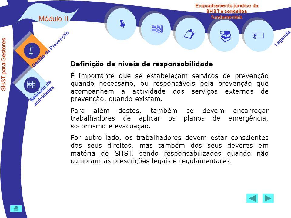 Módulo II SHST para Gestores Gestão da Prevenção Relatório de actividades Legenda Enquadramento jurídico da SHST e conceitos fundamentais Definição de