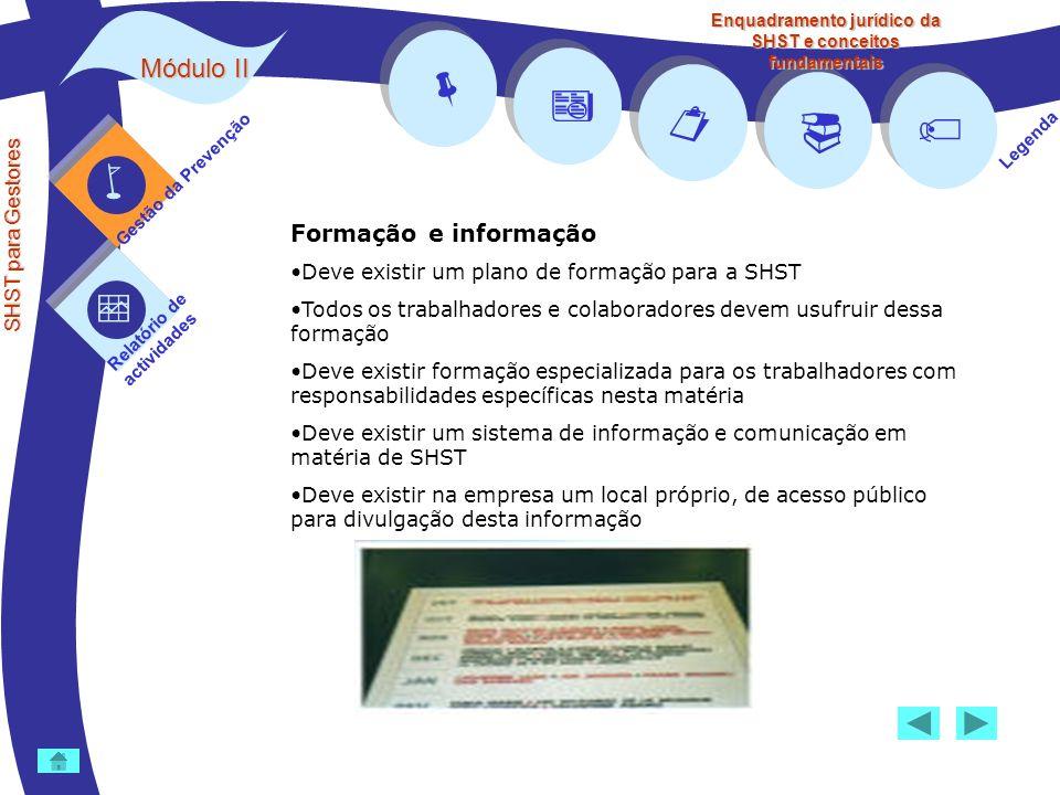 Módulo II SHST para Gestores Gestão da Prevenção Relatório de actividades Legenda Enquadramento jurídico da SHST e conceitos fundamentais Formação e i