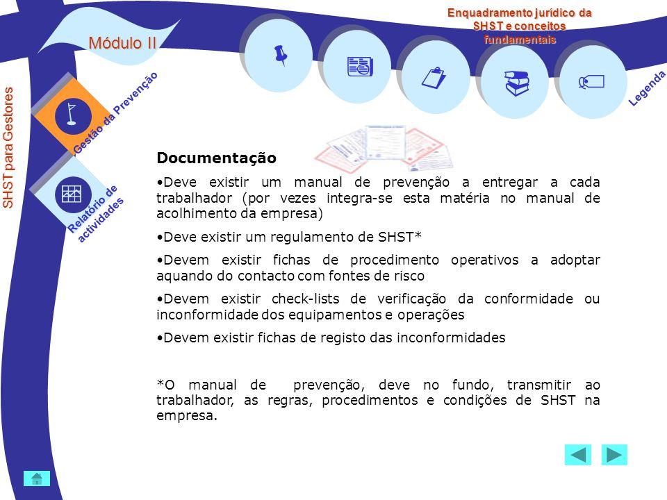 Módulo II SHST para Gestores Gestão da Prevenção Relatório de actividades Legenda Enquadramento jurídico da SHST e conceitos fundamentais Documentação