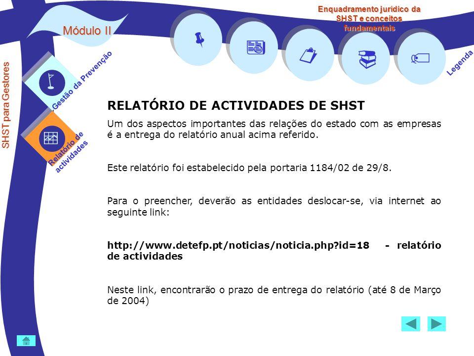 Módulo II SHST para Gestores Gestão da Prevenção Relatório de actividades Legenda Enquadramento jurídico da SHST e conceitos fundamentais RELATÓRIO DE