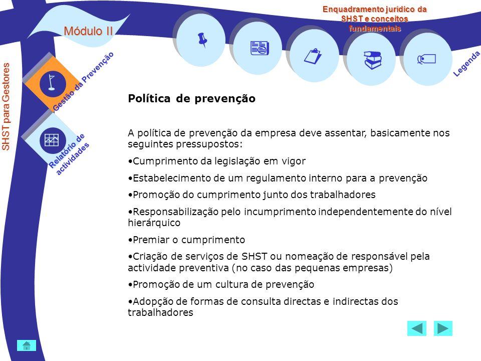 Módulo II SHST para Gestores Gestão da Prevenção Relatório de actividades Legenda Enquadramento jurídico da SHST e conceitos fundamentais Política de