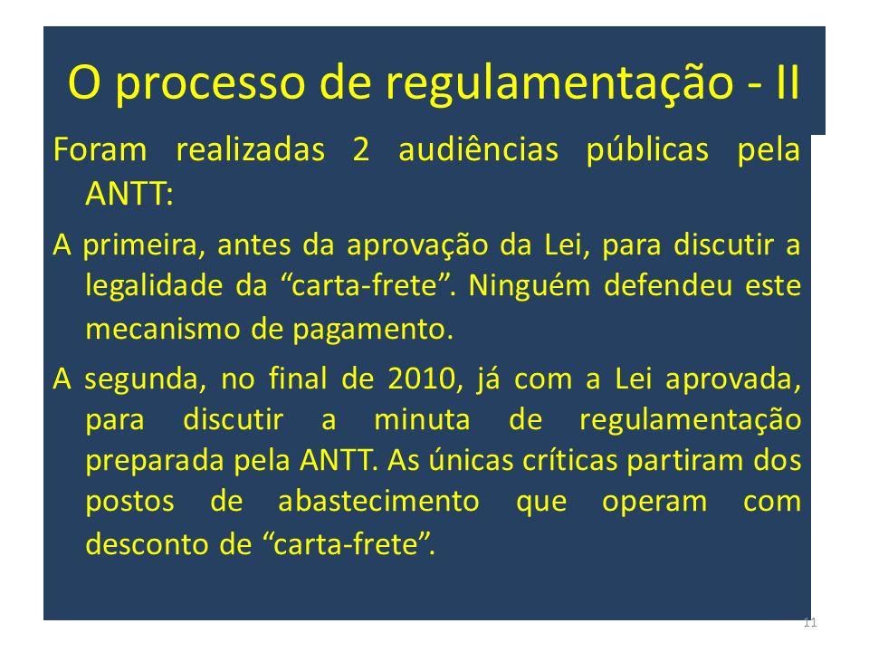 O processo de regulamentação - II Foram realizadas 2 audiências públicas pela ANTT: A primeira, antes da aprovação da Lei, para discutir a legalidade