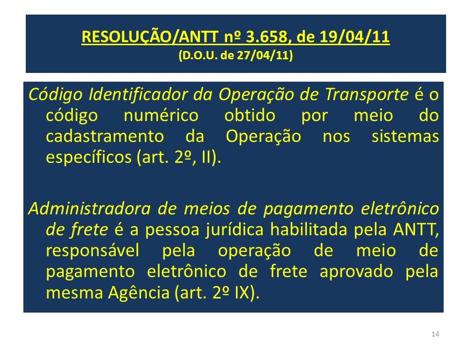 RESOLUÇÃO/ANTT nº 3.658, de 19/04/11 (publ. DOU de 27/04/11) Código Identificador da Operação de Transporte é o código numérico obtido por meio do cad