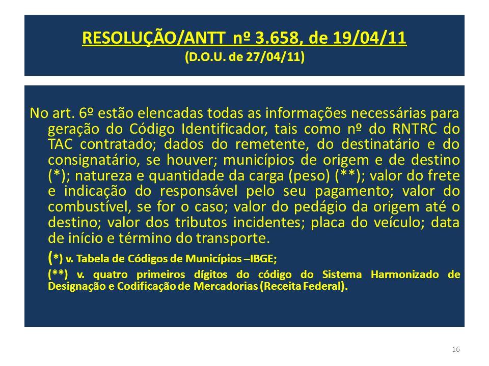 No art. 6º estão elencadas todas as informações necessárias para geração do Código Identificador, tais como nº do RNTRC do TAC contratado; dados do re