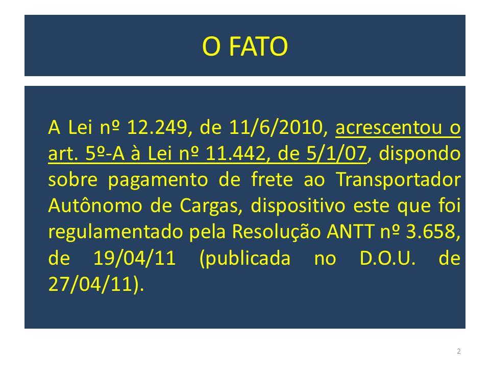 O FATO A Lei nº 12.249, de 11/6/2010, acrescentou o art. 5º-A à Lei nº 11.442, de 5/1/07, dispondo sobre pagamento de frete ao Transportador Autônomo