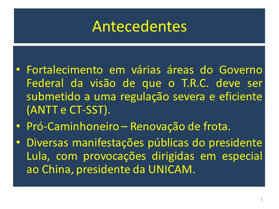 Antecedentes Fortalecimento em várias áreas do Governo Federal da visão de que o T.R.C. deve ser submetido a uma regulação severa e eficiente (ANTT e