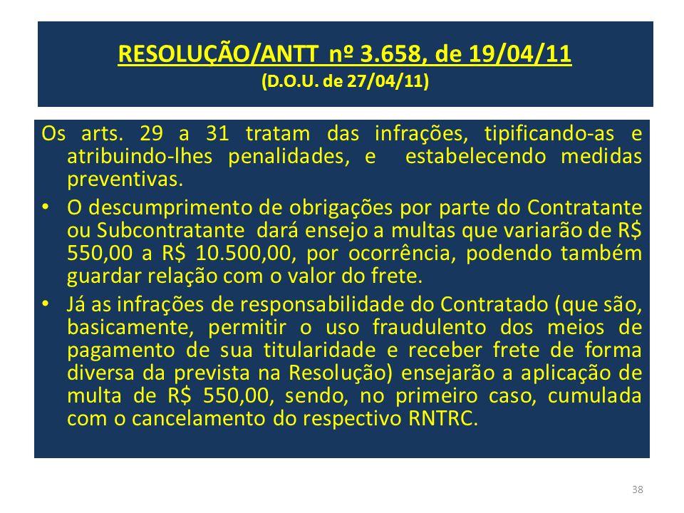 RESOLUÇÃO/ANTT nº 3.658, de 19/04/11 (D.O.U. de 27/04/11) Os arts. 29 a 31 tratam das infrações, tipificando-as e atribuindo-lhes penalidades, e estab