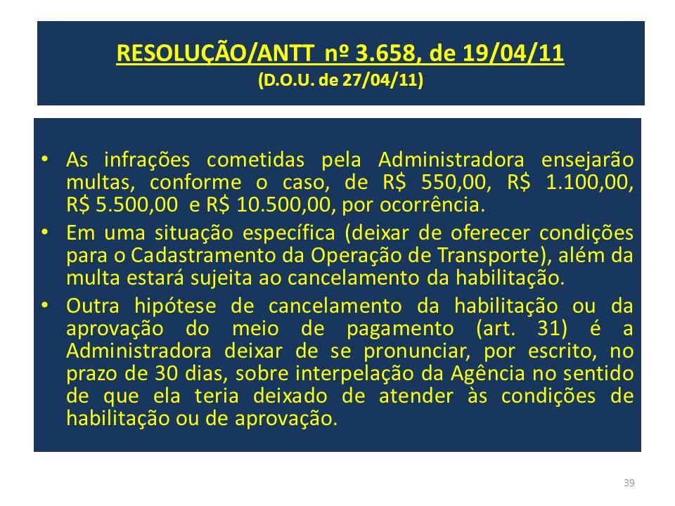 RESOLUÇÃO/ANTT nº 3.658, de 19/04/11 (D.O.U. de 27/04/11) As infrações cometidas pela Administradora ensejarão multas, conforme o caso, de R$ 550,00,