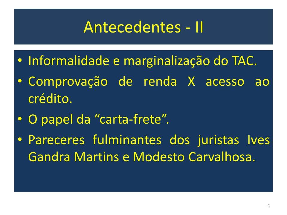 Informalidade e marginalização do TAC. Comprovação de renda X acesso ao crédito. O papel da carta-frete. Pareceres fulminantes dos juristas Ives Gandr