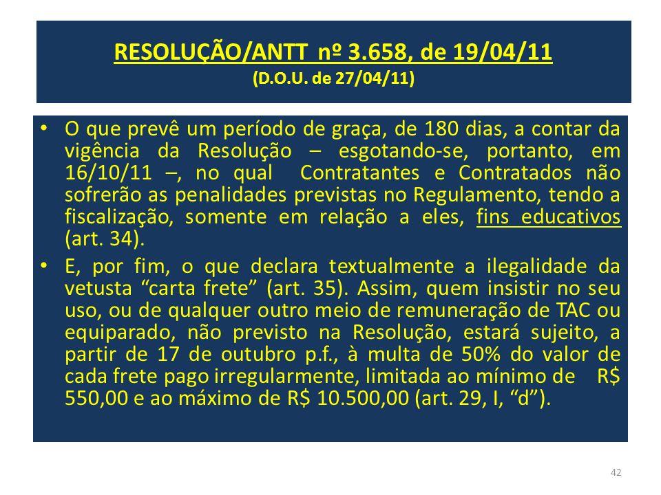 RESOLUÇÃO/ANTT nº 3.658, de 19/04/11 (D.O.U. de 27/04/11) O que prevê um período de graça, de 180 dias, a contar da vigência da Resolução – esgotando-