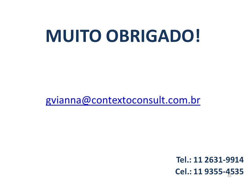 MUITO OBRIGADO! gvianna@contextoconsult.com.br Tel.: 11 2631-9914 Cel.: 11 9355-4535 45