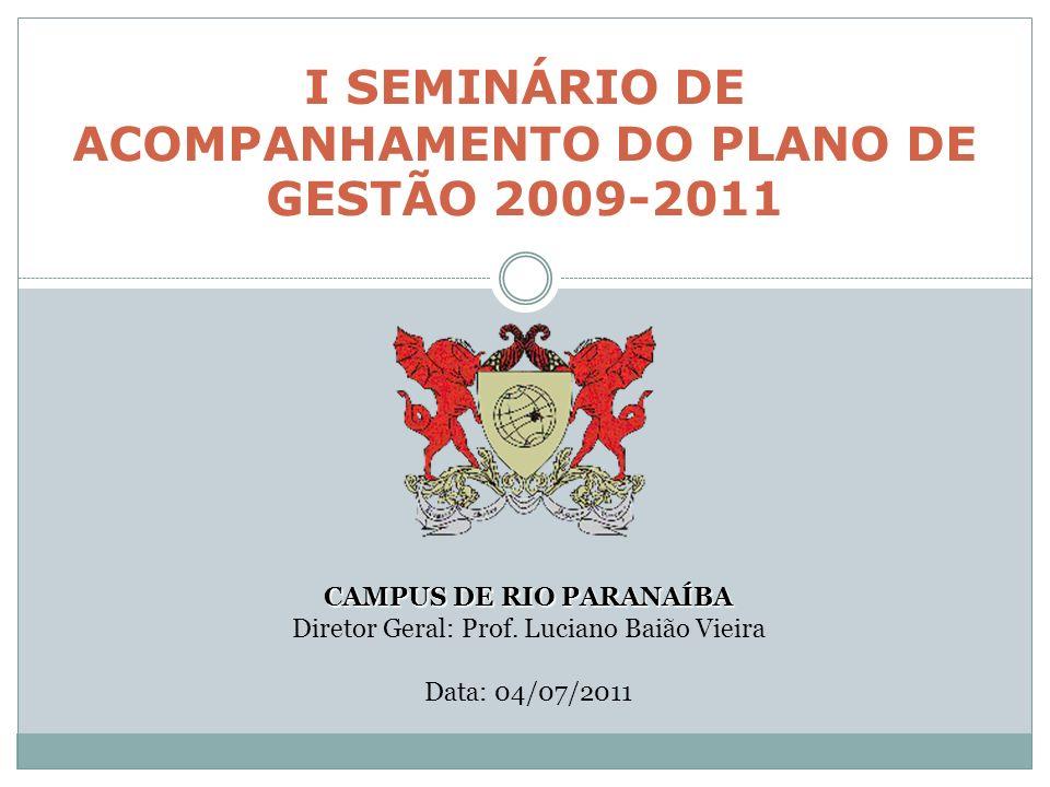 I SEMINÁRIO DE ACOMPANHAMENTO DO PLANO DE GESTÃO 2009-2011 CAMPUS DE RIO PARANAÍBA Diretor Geral: Prof.