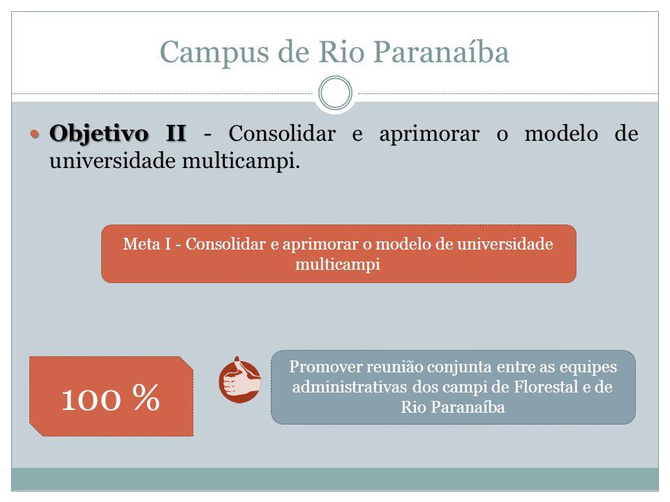 Campus de Rio Paranaíba Meta I - Consolidar e aprimorar o modelo de universidade multicampi 100 % Promover reunião conjunta entre as equipes administrativas dos campi de Florestal e de Rio Paranaíba Objetivo II Objetivo II - Consolidar e aprimorar o modelo de universidade multicampi.