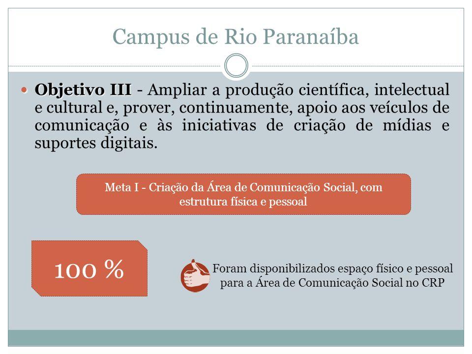 Falta de recursos financeiros para a execução do projetos de divulgação em tempo oportuno Meta I - Promover divulgação do Campus de Rio Paranaíba e de seus cursos Meta II- Criar o Programa de Apoio à Implantação do Campus de Rio Paranaíba PAIC visando promover a integração Campus de Rio Paranaíba Objetivo IV Objetivo IV - Aprimorar o diálogo e a integração universidade-sociedade.