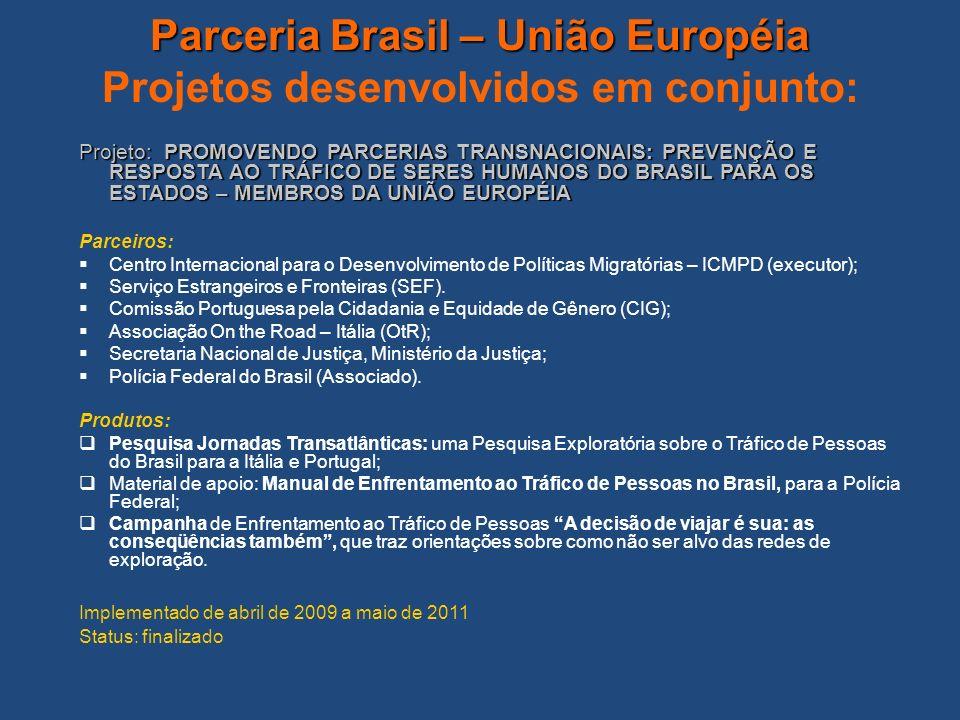 Parceria Brasil – União Européia Parceria Brasil – União Européia Projetos desenvolvidos em conjunto: Projeto: PROMOVENDO PARCERIAS TRANSNACIONAIS: PR