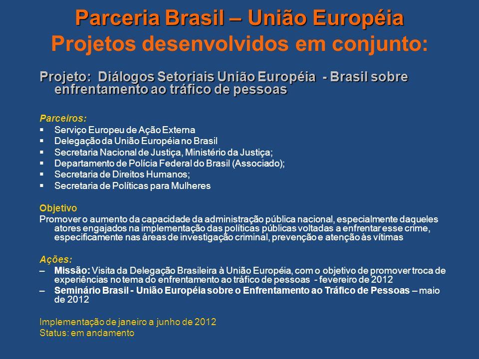 Parceria Brasil – União Européia Parceria Brasil – União Européia Projetos desenvolvidos em conjunto: Projeto: Diálogos Setoriais União Européia - Bra
