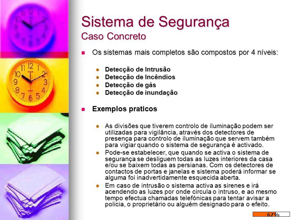Sistema de Segurança Caso Concreto Os sistemas mais completos são compostos por 4 níveis: Os sistemas mais completos são compostos por 4 níveis: Detec