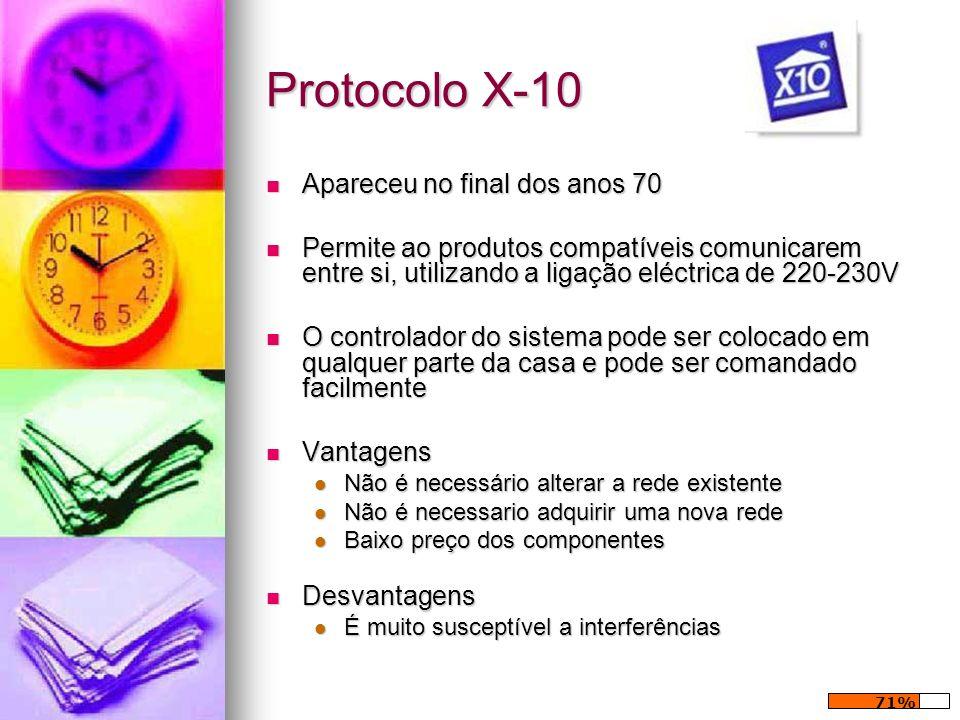 Protocolo X-10 Apareceu no final dos anos 70 Apareceu no final dos anos 70 Permite ao produtos compatíveis comunicarem entre si, utilizando a ligação