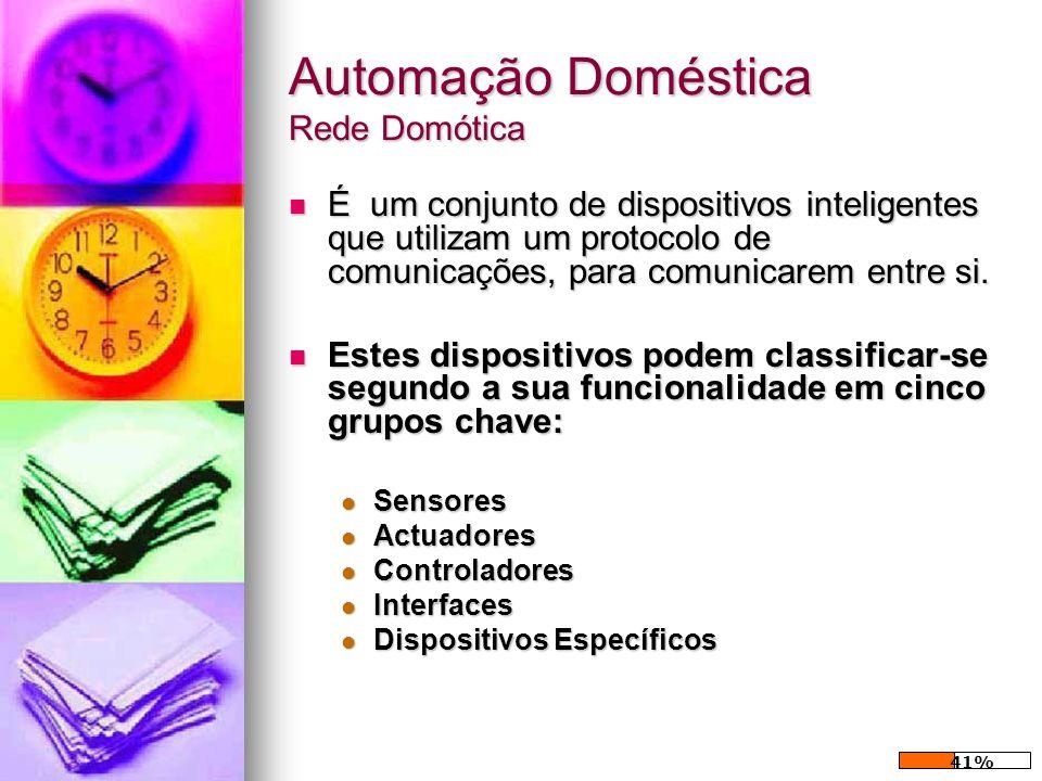 Automação Doméstica Rede Domótica É um conjunto de dispositivos inteligentes que utilizam um protocolo de comunicações, para comunicarem entre si. É u