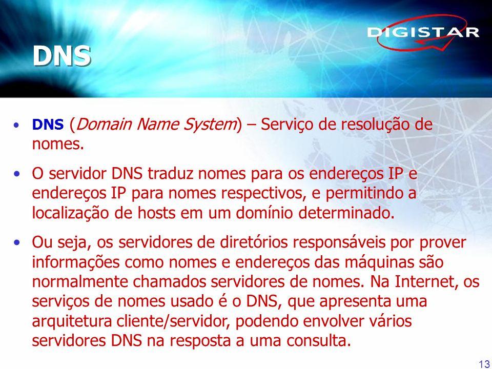 13 DNS (Domain Name System) – Serviço de resolução de nomes. O servidor DNS traduz nomes para os endereços IP e endereços IP para nomes respectivos, e