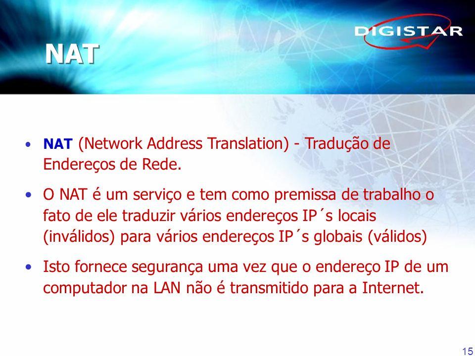 15 NAT (Network Address Translation) - Tradução de Endereços de Rede. O NAT é um serviço e tem como premissa de trabalho o fato de ele traduzir vários