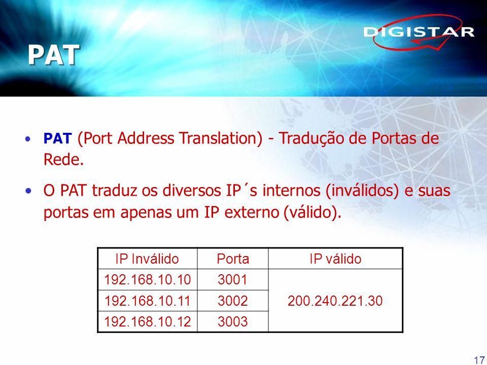 17 PAT (Port Address Translation) - Tradução de Portas de Rede. O PAT traduz os diversos IP´s internos (inválidos) e suas portas em apenas um IP exter