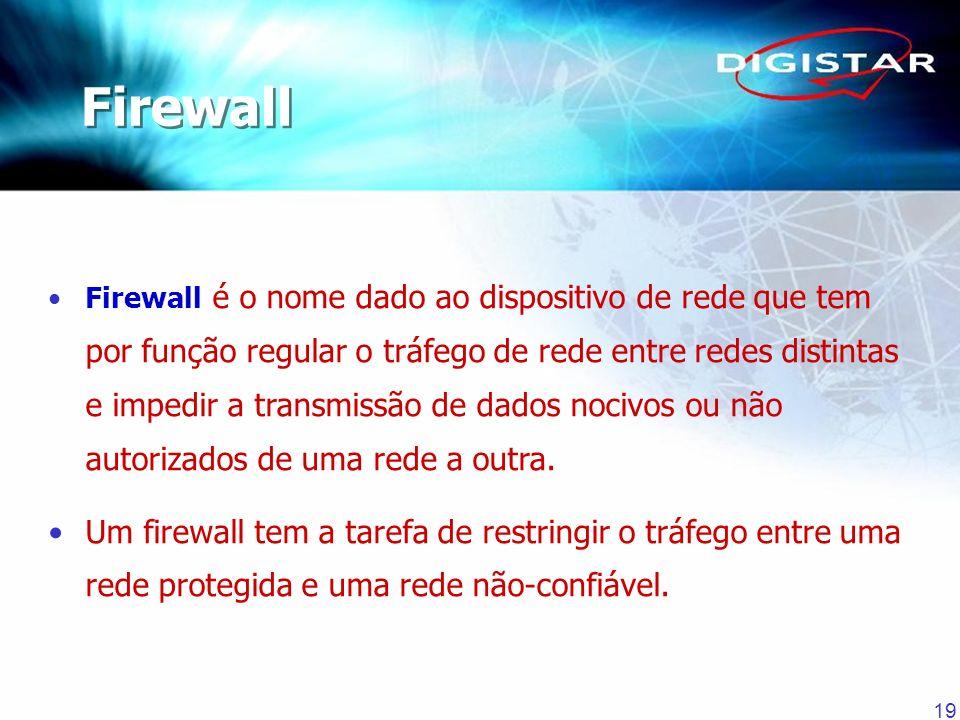 19 Firewall é o nome dado ao dispositivo de rede que tem por função regular o tráfego de rede entre redes distintas e impedir a transmissão de dados n