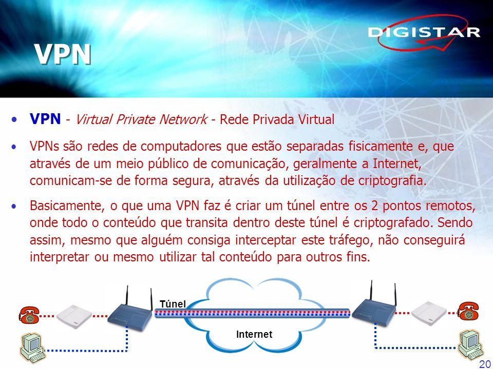 20 VPN - Virtual Private Network - Rede Privada Virtual VPNs são redes de computadores que estão separadas fisicamente e, que através de um meio públi