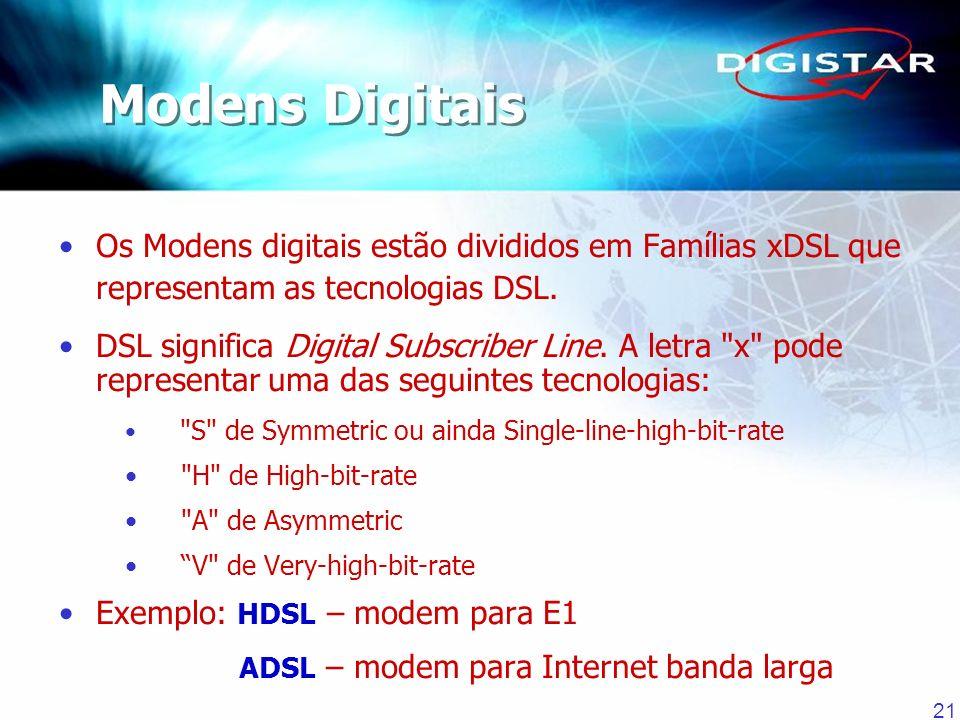 21 Os Modens digitais estão divididos em Famílias xDSL que representam as tecnologias DSL. DSL significa Digital Subscriber Line. A letra