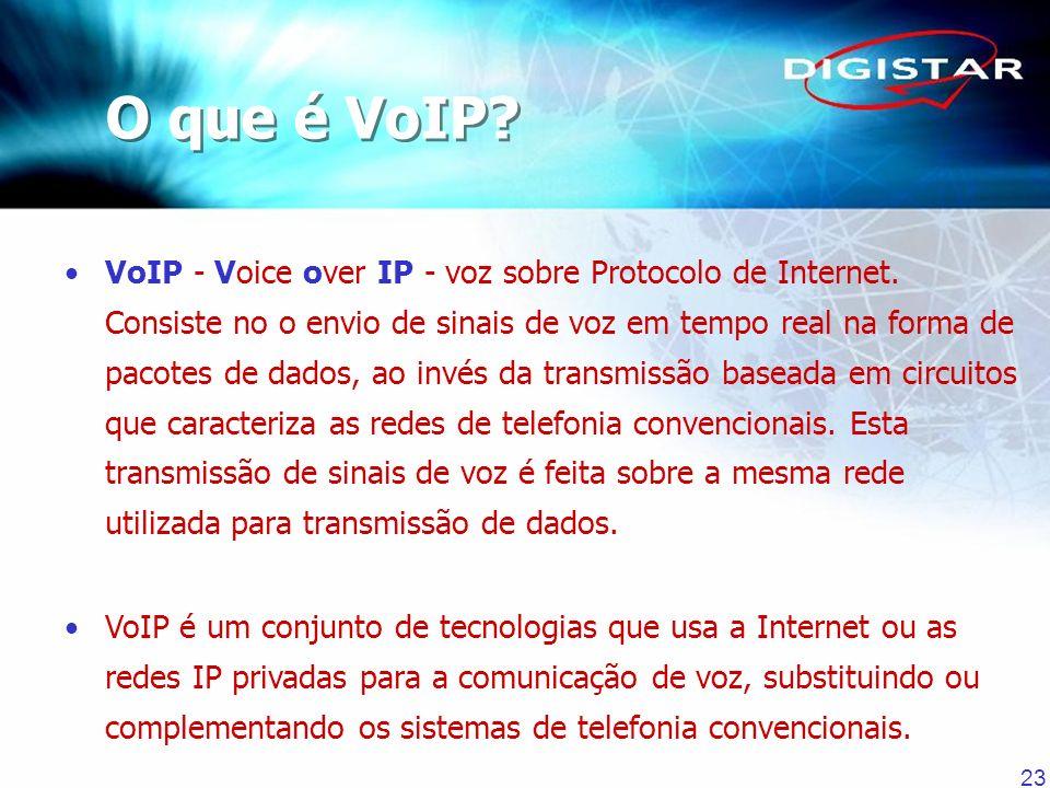 23 VoIP - Voice over IP - voz sobre Protocolo de Internet. Consiste no o envio de sinais de voz em tempo real na forma de pacotes de dados, ao invés d
