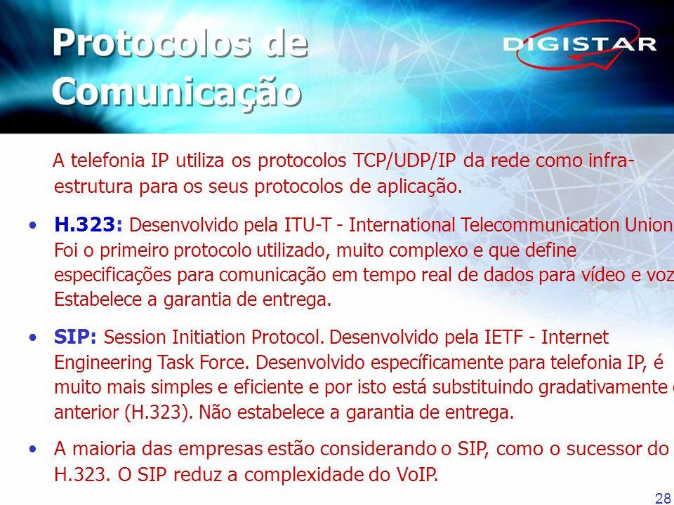 28 A telefonia IP utiliza os protocolos TCP/UDP/IP da rede como infra- estrutura para os seus protocolos de aplicação. H.323: Desenvolvido pela ITU-T