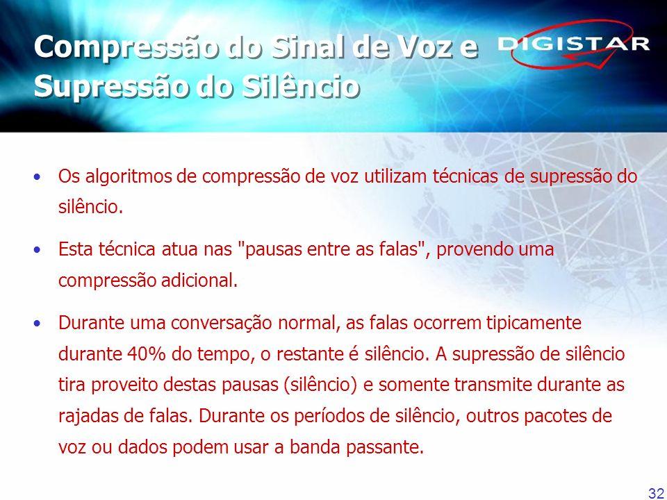 32 Os algoritmos de compressão de voz utilizam técnicas de supressão do silêncio. Esta técnica atua nas