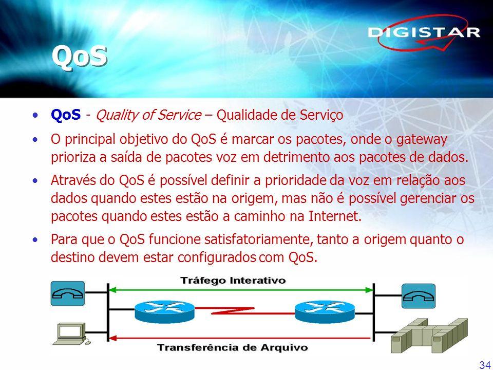 34 QoS - Quality of Service – Qualidade de Serviço O principal objetivo do QoS é marcar os pacotes, onde o gateway prioriza a saída de pacotes voz em
