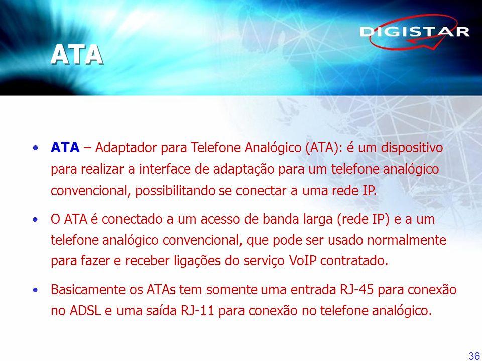 36 ATA – Adaptador para Telefone Analógico (ATA): é um dispositivo para realizar a interface de adaptação para um telefone analógico convencional, pos