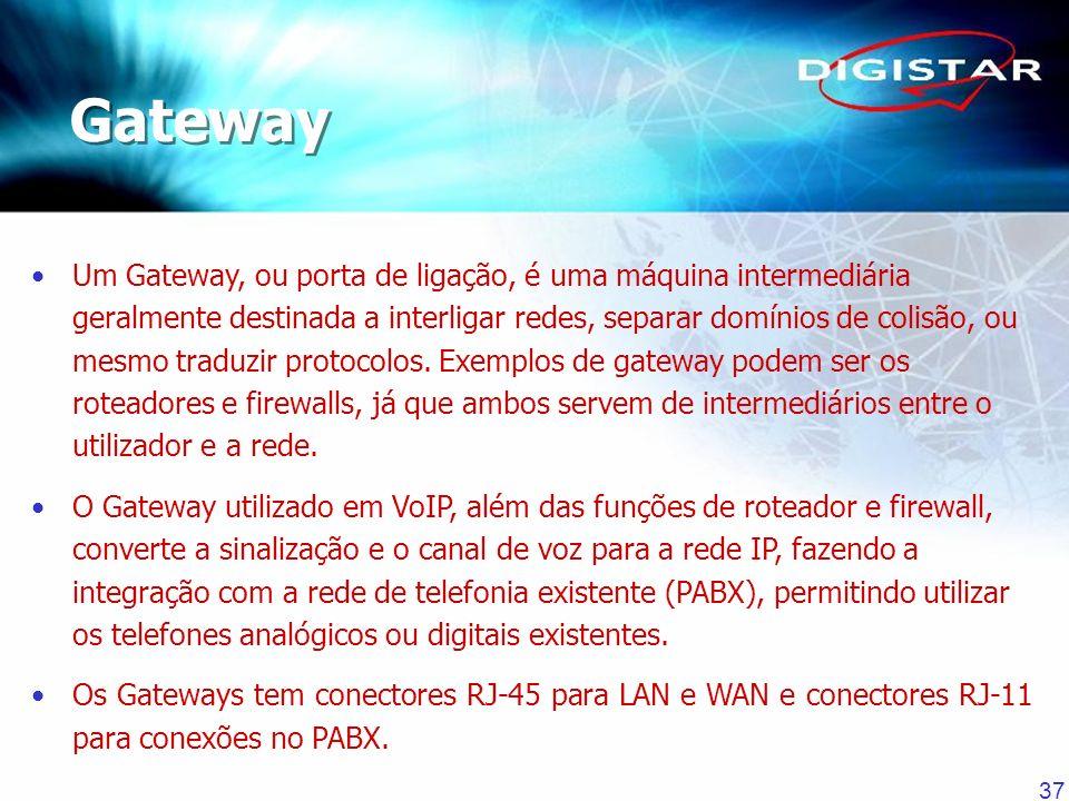 37 Um Gateway, ou porta de ligação, é uma máquina intermediária geralmente destinada a interligar redes, separar domínios de colisão, ou mesmo traduzi