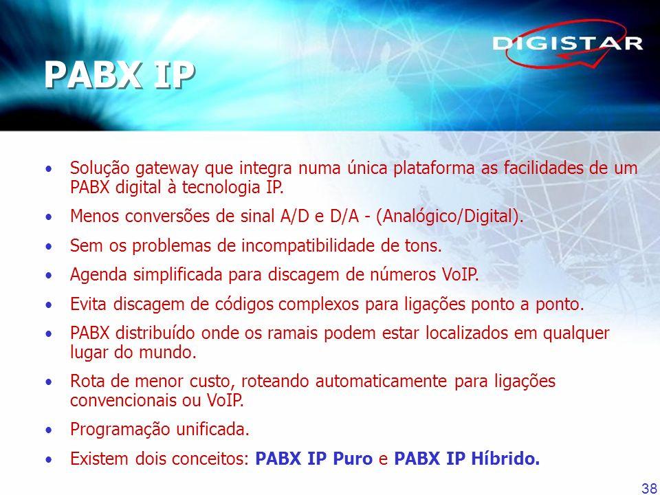 38 Solução gateway que integra numa única plataforma as facilidades de um PABX digital à tecnologia IP. Menos conversões de sinal A/D e D/A - (Analógi
