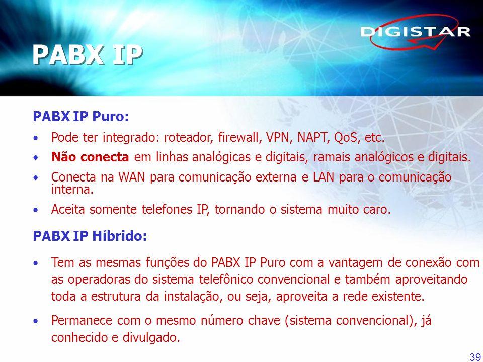 39 PABX IP Puro: Pode ter integrado: roteador, firewall, VPN, NAPT, QoS, etc. Não conecta em linhas analógicas e digitais, ramais analógicos e digitai